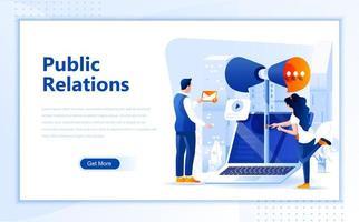Design de página web plana de relações públicas vetor