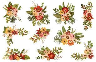 Decorações florais de inverno vetor