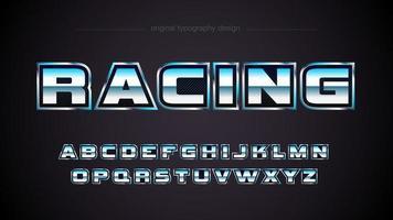 Tipografia de fibra de carbono de esportes de corrida de cromo vetor