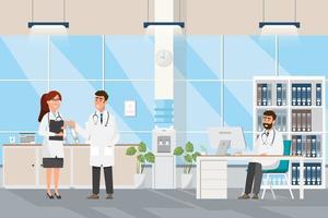 Médicos no salão médico