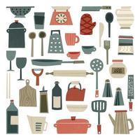 Material de cozinha desenhado à mão vetor
