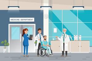 Conceito médico com médico e pacientes em cartoon plana no corredor do hospital