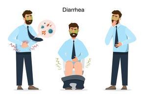 personagem de desenho animado de diarréia do homem. homem doença. Ilustração vetorial