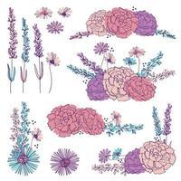 Mão desenhada elementos florais vetor