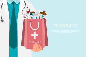 médico de farmácia segurando uma sacola de remédios vetor