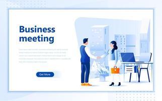 Design de página da web de reunião de negócios vetor