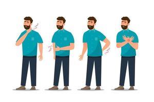 conjunto de dor de estômago de homem doente, doença cardíaca, dor nas costas, dor de garganta, tosse e gastrite