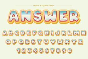 Tipografia de bolha colorida dos desenhos animados