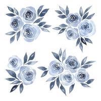 Rosas azuis aquarela vetor
