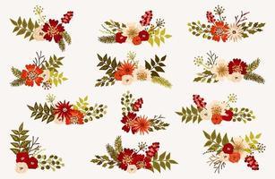 Buquês de flores de Natal e inverno vetor