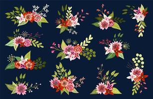 Arranjos florais em fundo escuro vetor