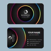 Cartão de visita colorido moderno preto