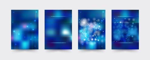 Conjunto de modelo de capa brochura azul vetor