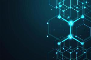 Fundo digital abstrato do hexágono de linhas vetor