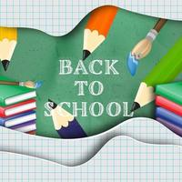 Voltar à mensagem da escola no design de papel cortado em camadas vetor