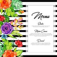 Cartão preto floral do menu da listra vetor