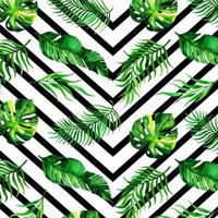 fundo de folhas tropicais em aquarela vetor