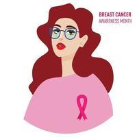 Ilustração de mês de conscientização de câncer de mama vetor