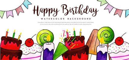 Fundo de aniversário em aquarela vetor