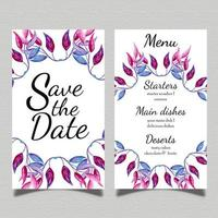 Cartão de menu de casamento em aquarela