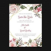 Salvar o convite floral do casamento da data vetor