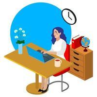Ilustração plana de trabalhador de escritório isométrica. Bela jovem personagem trabalhando. vetor