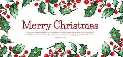 Banner de feliz Natal floral aquarela vetor