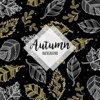 Folhas de outono ouro mão desenhada padrão vetor