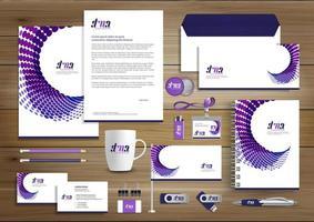 Design de modelo de identidade corporativa de negócios roxo
