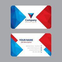 Cartão de visita colorido moderno azul vermelho
