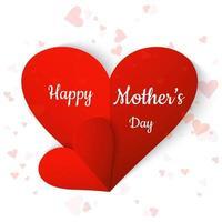 Coração de papel dobrado Design de cartão de dia das mães vetor