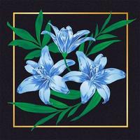 Flor Azul Folha Vintage Vector Natureza