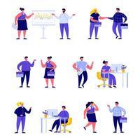 Conjunto de trabalhadores de escritório plana, conhecer e conversar
