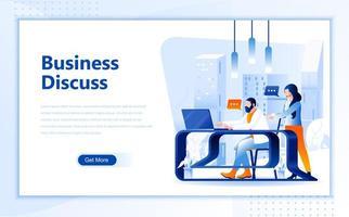 Modelo de página de destino da web plana de discussão de negócios