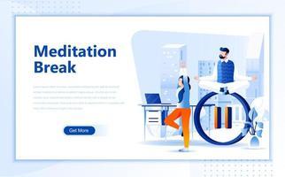 Modelo de página de destino de web plana de pausa de meditação vetor