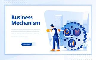 Modelo de página de destino da web plana de mecanismo de negócios vetor