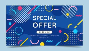 Oferta especial banner colorido com elementos geométricos abstratos na moda