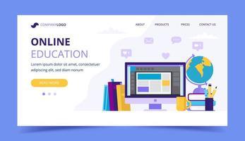 Página de destino da educação on-line com um computador e livros diferentes vetor