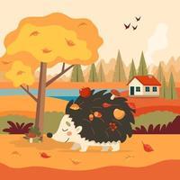 Ouriço fofo com fundo de Outono com árvore e uma casa