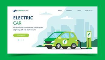 Página de destino do carro elétrico vetor