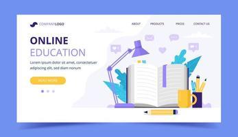 Página de destino da educação on-line com um livro aberto e uma lâmpada