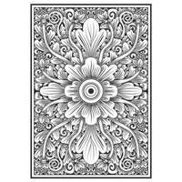 Teste padrão floral efeito de madeira esculpida vetor