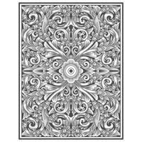 Teste padrão floral de efeito de madeira esculpida vintage vetor