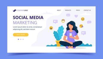 Modelo de página de destino de marketing de mídia social vetor
