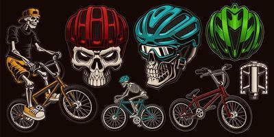 Conjunto de ciclista de caveira colorida vetor