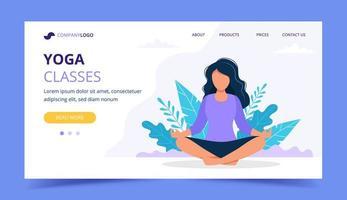 Mulher fazendo yoga landing page vetor