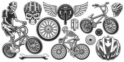 Conjunto de desenhos temáticos de ciclista preto e branco vetor