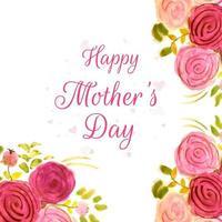 Feliz dia das mães aquarela rosa fundo vetor