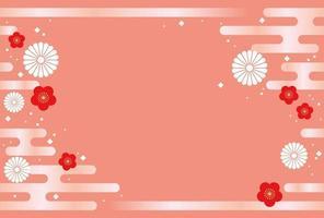 Modelo de cartão-de-rosa japonês sem costura ano novo. vetor