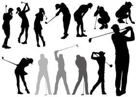 Silhuetas de jogadores de golfe vetor